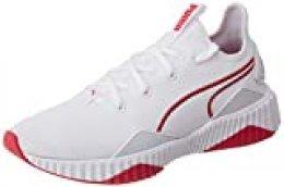 PUMA Defy New Core Wn's, Zapatillas Deportivas para Interior para Mujer, Blanco White-Bright Rose, 42 EU