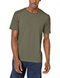 Amazon Essentials - Camiseta sin costuras con cuello redondo para hombre, Jaspeado Dark Olive Heather, US L (EU L)