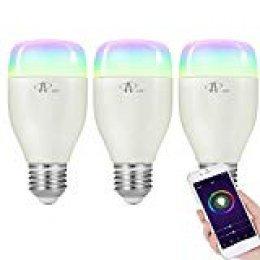 Bombilla Wifi, ACCEWIT Bombilla LED inteligente RGB Multicolor 7W E27 Control de Voz, 650LM Smart Bombilla Funciona con Alexa Echo Google, para Casa Decoración Bar Fiesta KTV-3 Pack