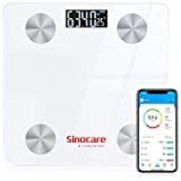 Bascula de Baño, sinocare Báscula Grasa Corporal de Baño Bluetooth Analizar 12 Funciones,Báscula Inteligente Grasa Corporal Digital: BMI, Grasa Corporal ect, Compatible con IOS/Android