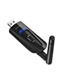 Transmisor Bluetooth 5.0, BlitzWolf Adaptador Bluetooth Audio para PC TV, Conecta 2 Dispositivos Simultáneamente, Conexión de USB y Cable de Audio de 3.5mm, Antena Externa, Conexión Estable