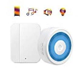 Alarma de Sensor de Puerta y Ventana Pilas, YIROKA Alarma para Casa Batería, Sensor Magnético Abierto, 150m Timbre Inalámbrico para la Seguridad Antirrobo, 58 Melodías, 4 Volumenes, LED Flash