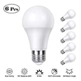 Bombilla LED E27, TASMOR Bombillas LED Luz Blanca Cálida, No Regulable,Bajo Consumo, 9W (equivalente a 60W),810LM, 2700K, Hogar Oficina Fábrica Biblioteca Restaurante - 6 Unidades.