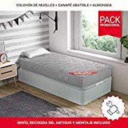 PIKOLIN Pack Colchón viscoelástico de muelles 90x190+ canapé con Base abatible en Madera y Almohada de Fibra