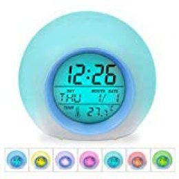 Despertadores, [Regalo] HAMSWAN Reloi Alarma, Clock, Despertadores Cambiado Entre 7 Colores con 8 Tonos, Tempreatura para Padres Estudios y Niños ect.