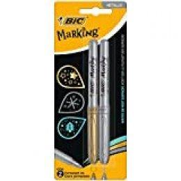BIC Marking marcadores permanentes punta media Cónica – Oro y Plata, Blíster de 2 unidades