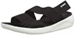 Crocs Literide Stretch Sandal Women, Sandalias de Punta Descubierta para Mujer, Negro (Black/White 066), 34/35 EU