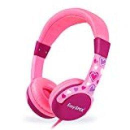 EasySMX Auriculares Niños, [Regalos] Auriculares Cascos de Diadema para Niños, Cascos Infantiles con Cable, 3.5 mm Jack, Volumen Limitado de 85dB, Plug y Play, Regalo para Niños de 3-12 Edad (Rosa)