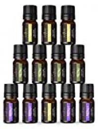 Anjou Aceites Esenciales 12pcs, Aceite Aromaterapia Natural Puro (Lavanda 4 * 5ml, Árbol de Té 4 * 5ml, Menta 4 * 5ml,) para Difusor,Spa,Dormir.