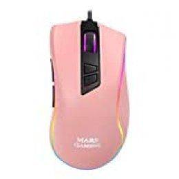 Mars Gaming MM218 Pink - Ratón PC óptico 10000DPI con iluminación RGB, Rosa