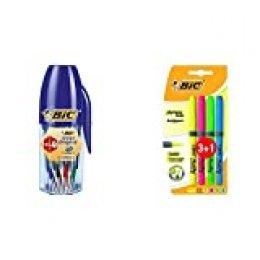 BIC Cristal Original bolígrafos punta media colores Surtidos, Blíster de 16+4 unidades + Highlighter Grip Marcadores punta biselada Ajustable colores Surtidos, Blíster de 3+1