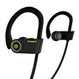 Auriculares Bluetooth HolyHigh Yuanguo2 Impermeable IPX7 Cascos Inalámbricos Deportivos Mini con Micrófono Cancelación de Ruido CVC6.0 para Running Correr Deporte para iOS y Andriod