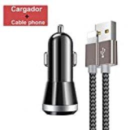 Cargador de Coche,Cargador de Mechero 90W 12V / 24V con Encendedor de Cigarrillo y Doble USB(QC 3.0 + 2.4A),1.5M Cable Phone para Phone XS/XR/X/8/8 Plus/7/6s/6Plus/6/Pad