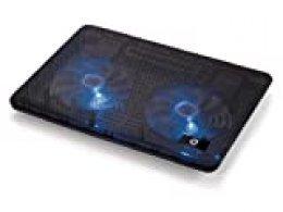 Conceptronic CNBCOOLPAD2F - Base de refrigeración para portátil (USB, Negro, 340 x 250 x 24 mm, Aluminio)