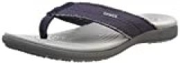 Crocs Santa Cruz Canvas Flip Men, Chanclas para Hombre, Azul (Navy/Light Grey 41s), 46/47 EU
