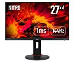 """Acer XF0 (XF270HPbmiiprzx) - Monitor (68,6 cm/27"""", Mate, HDMI, DP, Full HD 1920 x 1080, 1 ms, 144 Hz, 400 nits, Altura Regulable, Pivot, Free Sync), Color Negro"""