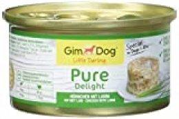 GimDog Pure Delight, pollo con cordero – Snack rico en proteínas en deliciosa gelatina – Especial para perros de hasta 10 kg – Sin azúcar añadido – 12 latas (12 x 85 g)