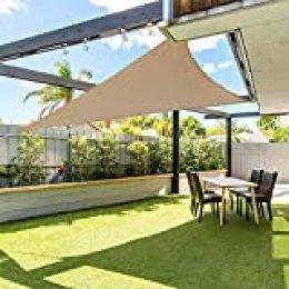 gracosy Toldo Vela de Sombra Triangular HDPE Protección Rayos UV,3.6 * 3.6 * 3.6m,para Patio, Exteriores, Jardín, Balcón,Resistente Transpirable,Prueba Viento y Polvo