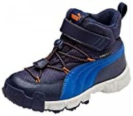 PUMA Puma Maka PURETEX V PS Zapatillas Unisex Niños, Azul (Peacoat-Jaffa Orange), 34 EU