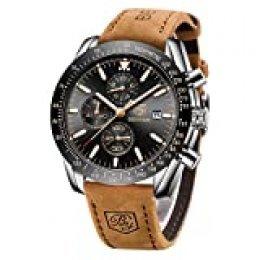 BY BENYAR Reloj Casual de Cuarzo para Hombre, con Correa de Piel, cronógrafo, Resistente al Agua, con Fecha, analógico, Deportivo, Militar, Reloj de Pulsera