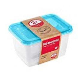 keeeper Set de 2 Fiambreras, 2 x 2 l, 20,5 x 15,5 x 10,5 cm, Fredo Fresh, Azul transparente