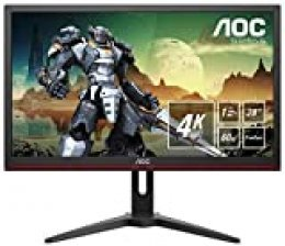 "AOC G2868PQU, Monitor Gaming UHD (Resolución 3840X2160 Pixeles, 1Ms, AMD Freesync, 60Hz, Altavoces), 28"", Negro/Rojo"
