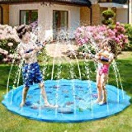 Juego de Salpicaduras y Salpicaduras,170 cm Water Spray de Agua Espolvoree y coloque la Alfombra de Juego,Almohadilla de aspersión para niños pequeños para Fiestas al Aire Libre para Playa de rociador