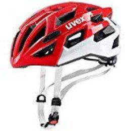 Uvex Race 7 Casco Ciclismo, Unisex Adulto, Rojo/Blanco, (51-55)