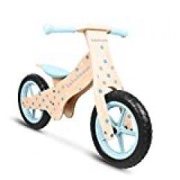 Lalaloom BUBBLE BIKE - Bicicleta Andador Madera azul diseño topos burbujas sin Pedales, Correpasillos niños Sillín regulable con ruedas de goma EVA