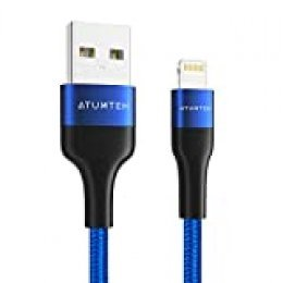 ATUMTEK Cable Lightning Cable Cargador iPhone 1M [Apple MFi Certificado] Cable de USB a Lightning Nylon Trenzado Compatible con iPhone 11 XS MAX XR X 8 Plus 7 Plus 6S 6 Plus 5 5S SE iPad - Azul