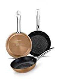 Monix Copper - Set de 3 Sartenes Efecto Cobre, Aluminio Forjado Antiadherente con Partículas de Titanio, Aptas para Todo Tipo de Cocinas incluso Inducción, 20-24-28 cm