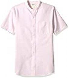 Marca Amazon – Goodthreads – Camisa Oxford con cuello en banda de manga corta y corte entallado para hombre, Rosa (Pink Pin), US M (EU M)
