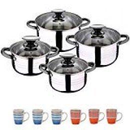 San Ignacio Pk1175 Set Hogar Cocina Batería 8 Piezas Y Set 6 Mugs, Multicolor