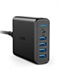 Anker Power Port C de 5 Puertos USB Cargador 60 W Cargador de Pared, 1 Puerto con Power Delivery para Apple MacBook, Nexus 5 x/6P y 4 Puertos PowerIQ para iPhone, iPad, Samsung y Otros Dispositivos