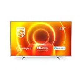 Televisor 4K UHD Ambilight Philips 43PUS7855/12 de 43 pulgadas (P5 Perfect Picture Engine, Asistente Alexa integrada, Smart TV, Función de control por voz), Color plata claro (modelo de 2020/2021)
