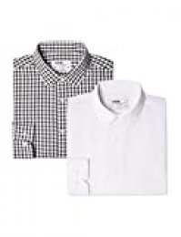 find. 2 Pack Slim Shirt - Camisa Hombre, Mehrfarbig (Block Check Black / White), 43 cm, Label: XXL