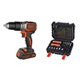 BLACK+DECKER BL188KB-QW - Taladro Percutor Motor Brushless con 2 velocidades 18 V + BLACK+DECKER A7188 - Set de 50 piezas con brocas y puntas para atornillar y taladrar