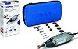 Dremel 3000 - Multiherramienta 130 W, kit con 15 accesorios y estuche, velocidad variable 10.000 - 33.000 rpm para tallar, grabar, fresar, amolar, limpiar, pulir, cortar y lijar