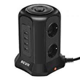 BEVA Regleta Enchufes Vertical de 6 Tomas Corrientes y 4 Rápida USB Tomas, Toma de Corriente con Protección Contra Sobrecargas y Interruptores, Cable de 2M, 2500W/10A