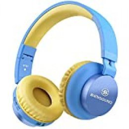 Auriculares Bluetooth, Biensound BT60, plegables y ligeros, auriculares con micrófono y control de volumen para iPhone, iPad, TV, portátil y ordenador. Blue&Yellow
