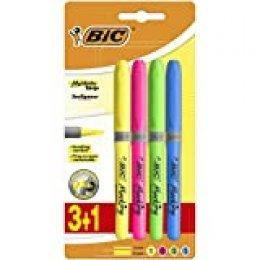 BIC Highlighter Grip Marcadores punta biselada Ajustable - colores Surtidos, Blíster de 3+1