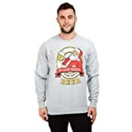 GAME ON Time For A Beer Crew Suéter pulóver, Grey Heather, Medium para Hombre
