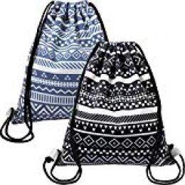 Frienda 2 Piezas de Mochila de Cuerda de Lona para Mujeres Bolsa de Cuerda de Lona de Gimnasia Ligera para Deportes Viaje (Color 1)