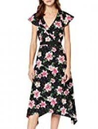 Marca Amazon - find. Mujer Vestido Midi Cruzado de Flores, Multicolor (Pink Floral), 38, Label: S