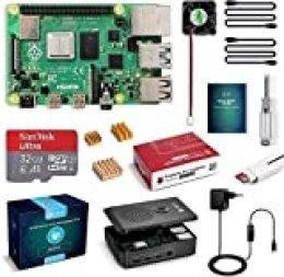 LABISTS Raspberry Pi 4 Model B Kit de 4 GB con SD de 32GB Clase 10 y 5.1V 3A Tipo C con Interruptor, RPi Barebone con 3 Disipadores de Calor, Ventilador, Micro HDMI, Lector de Tarjetas y Caja Negra