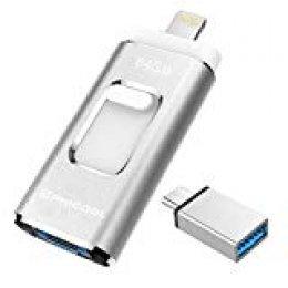 Unidad Memoria Flash USB 3.0 64 GB Memoria Lápiz Drive OTG PHICOOL [4 en 1] con Type C Conector USB Mirco Expansión de Memoria para iPhone, iPad, Android, PC - Plata