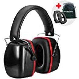 PROHEAR 028 Protectores Auditivos Adulto Almohadillas Reemplazables, Cascos Antiruido Proteccion Auditiva con Bolsa Portátil, SNR 33dB para Concierto / Sitio / Viajes / Dormir (Negro rojo)