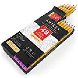 Arteza Caja de lápices con goma de borrar - Pack de 48 lapiceros de madera preafilados del nº2 (2 HB) con borrador libre de látex