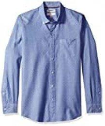 Goodthreads – Camisa Dobby de manga larga de corte entallado para hombre, Azul (Blue Diamond Dia), US M (EU M)