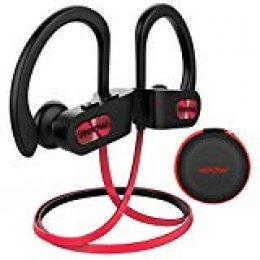 Mpow Auriculares Bluetooth Deportivos, Flame V4.1 Impermeable IPX7 In-Ear Cascos Inalámbricos,Auricular Running Deporte Correr con Micrófono,Cancelación de Ruido CVC 6.0 (Negro/Rojo EVA Bolsa/Flame)